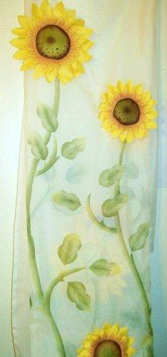 "3-D Sunflower Curtain 84"" Panel sheer applique"