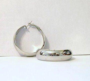 Hoop Earrings 40 mm rhodium plated new