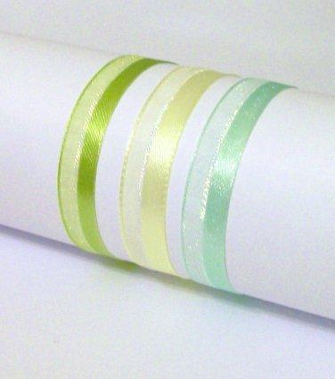 Bracelet 3 color Set chiffon yellow blue green ribbon child adult new