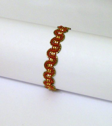 Bracelet Red Golden metallic ribbon child adult new