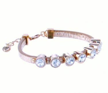 Juicy Couture Bracelet Gold Skinny Stone Leather new