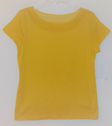 St John's Bay Top size PL /38 yellow lace women