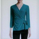 Black Label by Evan-Picone 3/4-Sleeve Side-Tie Blouse top size XS /32/34 color Teal women new
