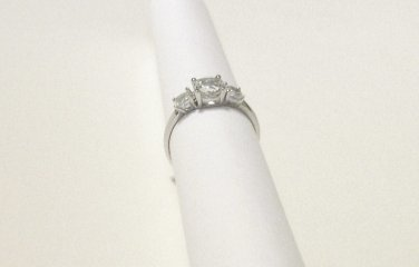 RING White Topaz 2.25 ctw size 5.5 Three stone engagement wedding silver 925 new