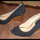 Colin Stuart Wedge Shoes Ladies Black Suede Size 7 1/2 Open Toe