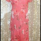 Asymetrical Waisted Dress Coral Floral Size 8 by IN Studio NWOT