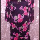 ONLY NINE Skirt and Top Set Black Pink Roses Bling NWOT Med - Large