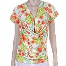 Hot Ginger Floral Print Droop Top Size XXXL