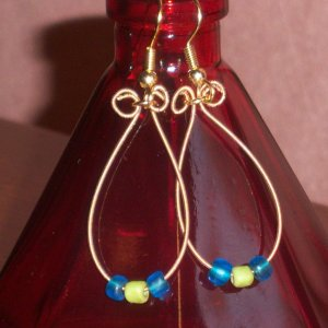 """""""D String Grass and Sky Earrings"""" 14"""