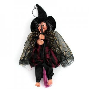 Magic laughing Witch Broom w/ LED Eyes Halloween Toy for Kids free shipping