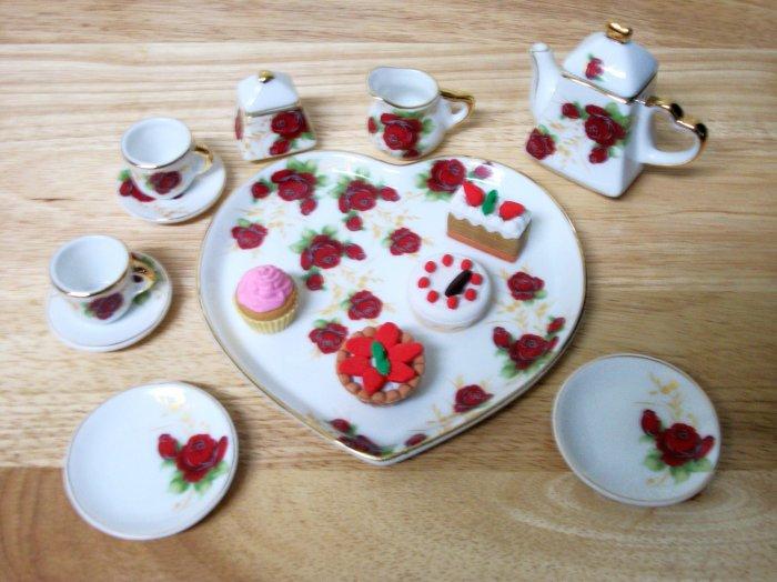 Porcelain Rosebud Tea set for American Girl 18 inch dolls