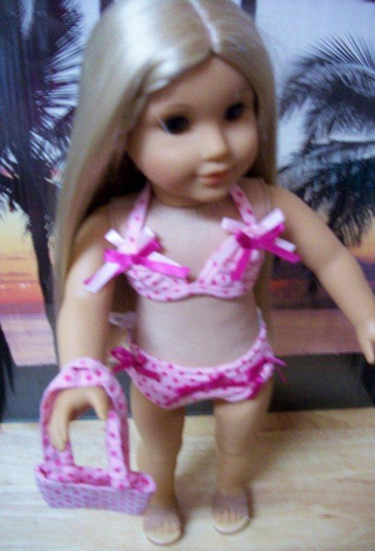 "AMERICAN GIRL 18"" DOLLS-PINK POLKA DOT BIKINI"