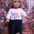 AMERICAN GIRL 18 INCH DOLL CLOTHES-FLOWERED EMBROIDERED JEANS SET