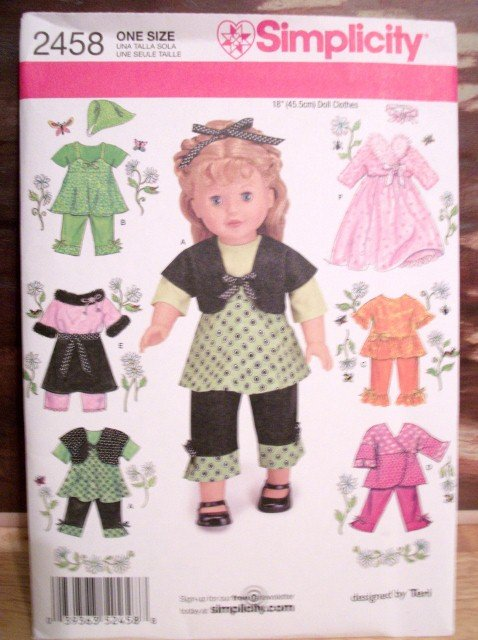 AMERICAN GIRL 18 INCH DOLL CLOTHES PATTERN-SIMPLICITY #2458