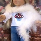 WHITE  FEATHERED BOA FOR AMERICAN GIRL 18 INCH DOLLS