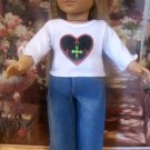 HEART JEANS SET FOR AMERICAN GIRL 18 INCH DOLLS