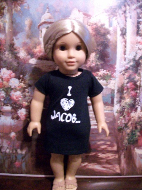 "Twilight ""I Love Jacob"" T Shirt for American Girl 18 inch dolls"