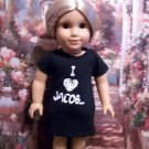 "TWILIGHT ""I LOVE JACOB"" T SHIRT FOR 18 INCH AMERICAN GIRL DOLLS"