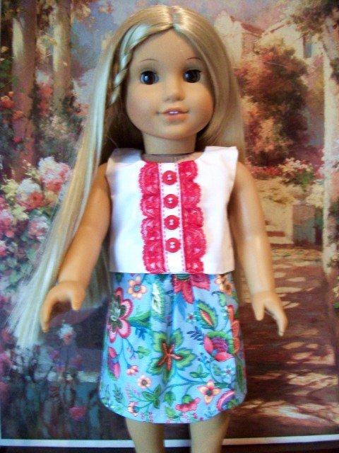 Blue Flowered Skirt set For American Girl 18 inch dolls