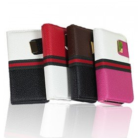 2 in 1 Double Tone Leather Cover with Detachable Back Skin Case for iPhone 4 / 4S