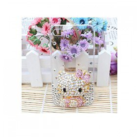 3D Bling Crystal Rhinestone Transparent Hello Kitty Case Cover for Apple iPhone 4 and 4S
