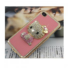 Luxury Hello Kitty Crystal Rhinestone Leather Case Cover for iPhone 4 4S