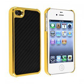 Fiber Style Metal Chrome Side Case Cover for Apple iPhone 4S / 4