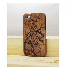 Old Tree Bird Natural Real Wood Bamboo Hard Cover Case for iPhone 4 / 4S