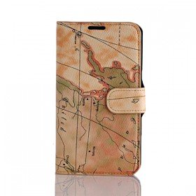 Wallet Style World Map Design Case Cover for Samsung Galaxy Note 2