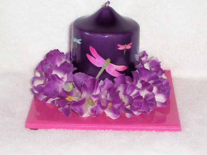 Hand Decorated Dragonfly Candle on Matching Tile Holder