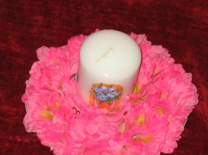 Hand Decorated Flower Candle on Plate Holder