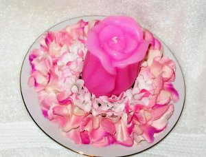 Candle with Flowers with matching Plate Holder