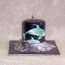 Blue Candle Decorated with Whales