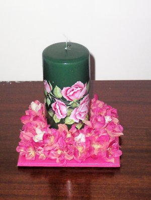 Green Pillar Candle with Roses