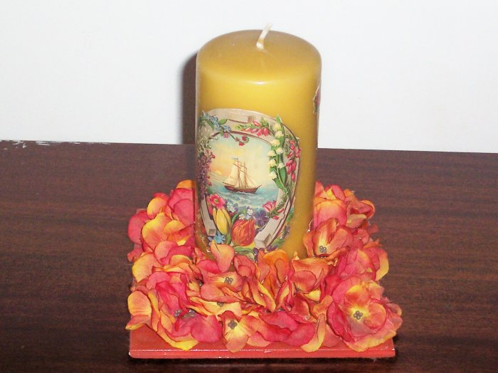 Golden Sailing Ship Candle with Decorated Flower Holder