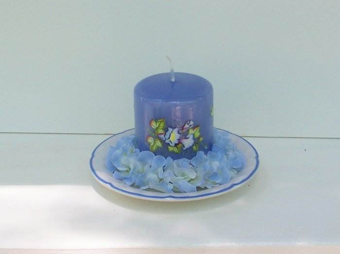 Hand Decorated Blue Pillar Candle