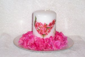 Flowered Candle with Decorated Holder