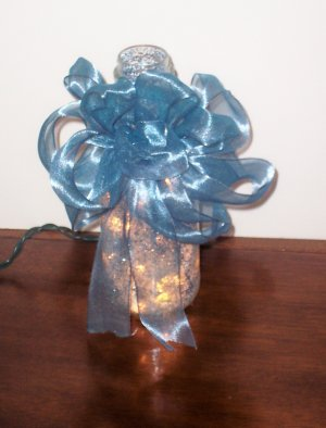 Lighted Glass Bottle Decorated with Glitter