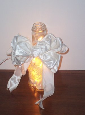 HAND STENCILED LIGHTED BOTTLE