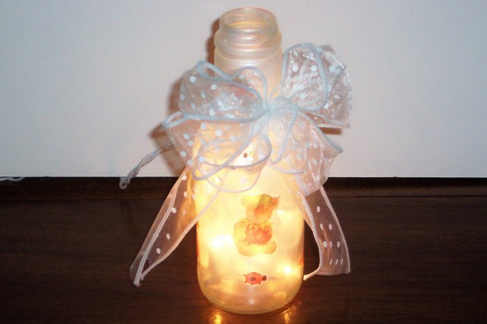 Strawberry and  Bears Lighted Bottle/Nightlight
