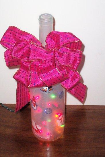 Festive Christmas Lighted Wine Bottle