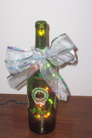Christmas Decoration Lighted Wine Bottle