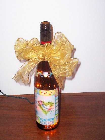 Lighted Wine Bottle with Hearts