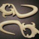 Hand Carved Bone Hook Earrings