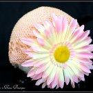 Infant Crochet Beanies /Kufi Hats Peach with Peach Flower - newborn to 12 months