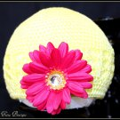 Infant Crochet Beanies /Kufi Hats Yellow with Hot Pink Flower - newborn to 12 months
