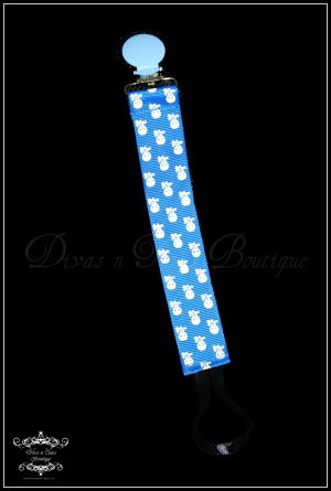 Pacifier Clip - blue skull and crossbones grosgrain ribbon