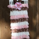 Brown/Pink/Creme Romper 3-6yrs