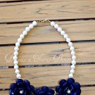 Navy Flower Beaded Necklace