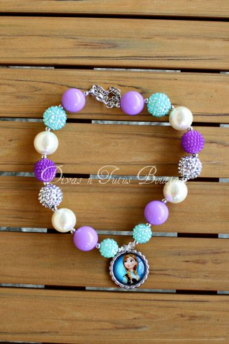 Disney Inspired Frozen Anna Chunky Beaded Necklace Bubble Gum Beads